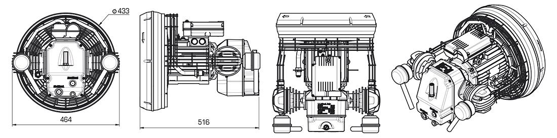 Technical Illustration of Coaxial Compressor Pumps L Series