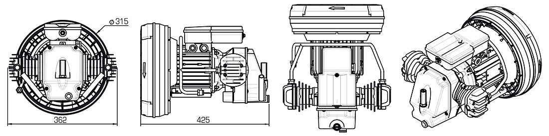 Technical Illustration of Coaxial Compressor Pumps S Series