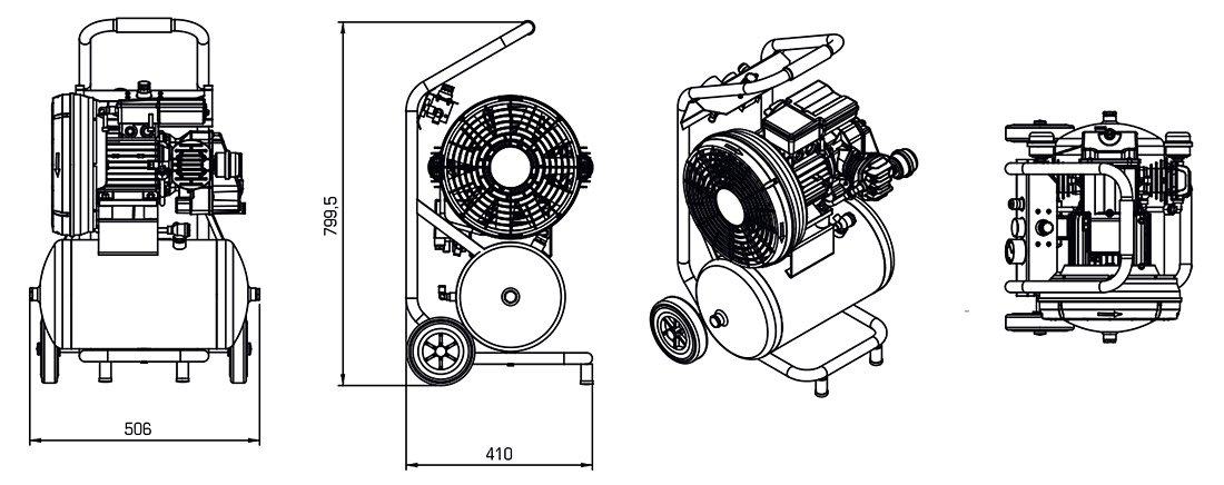 Technical Illustration of Compressor Trolley Series