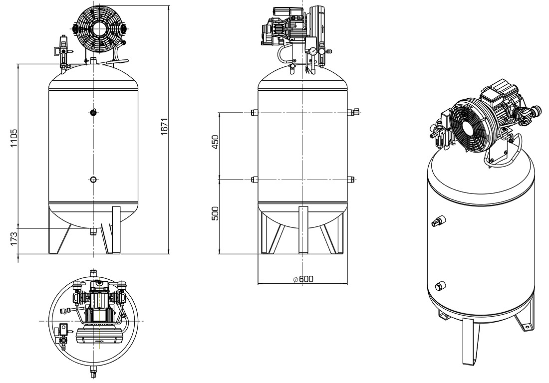 Technical Illustration of Compressor Vertical Series